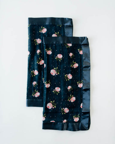 Cotton Muslin Security Blankets - Midnight Rose