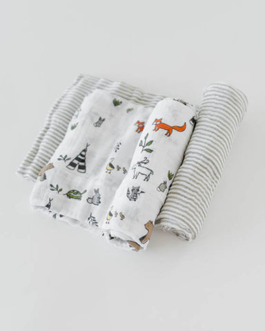 Organic Cotton Swaddle Blanket Set - Forest Friends