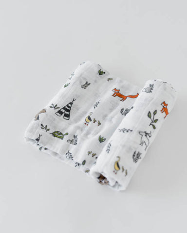 Organic Cotton Swaddle - Forest Friends