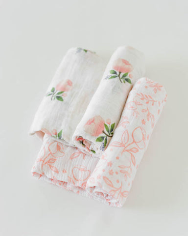 Organic Cotton Swaddle Set - Watercolor Rose