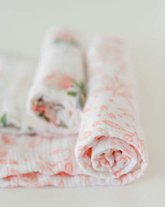 Organic Cotton Swaddle Blanket Set - Watercolor Rose
