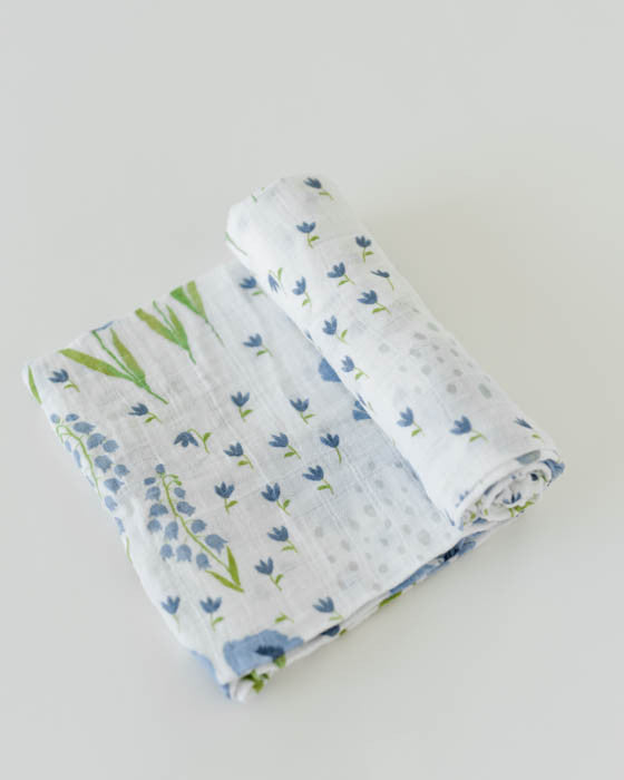 Organic Cotton Swaddle - Blue Windflower