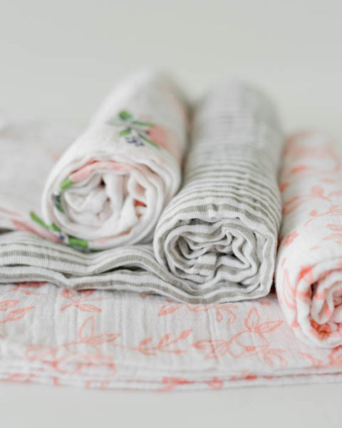 Cotton Muslin Swaddle Blanket Set - Garden Rose