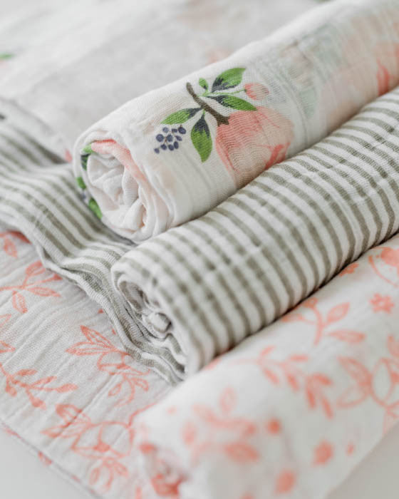 Cotton Swaddle Set - Garden Rose