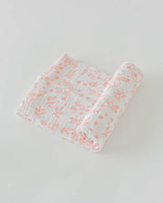 Cotton Muslin Swaddle Blanket - Garden Rose