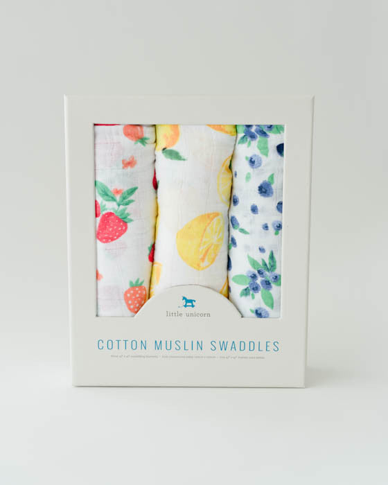Cotton Muslin Swaddle Blanket Set - Berry Lemonade