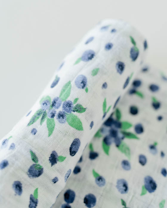 Cotton Muslin Swaddle Blanket - Blueberry