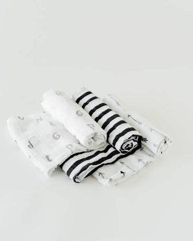 Cotton Muslin Swaddle Blanket Set - Black and White
