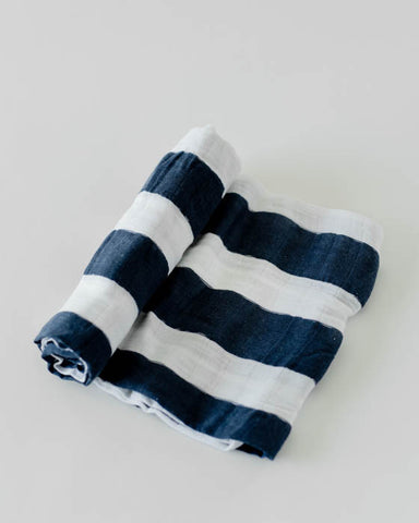 Cotton Swaddle - Navy Stripe