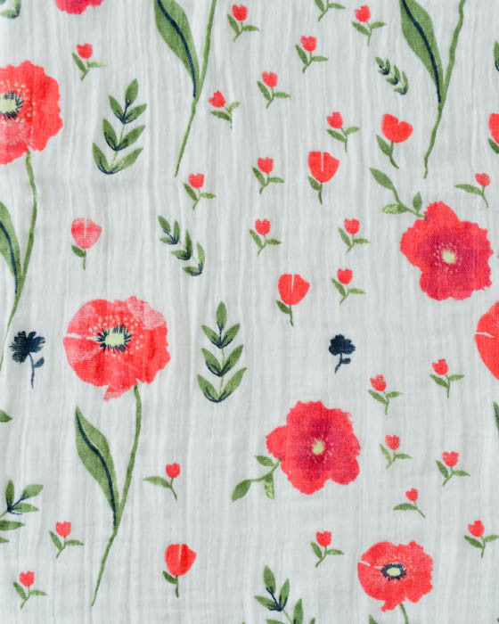 Cotton Muslin Swaddle Blanket - Summer Poppy