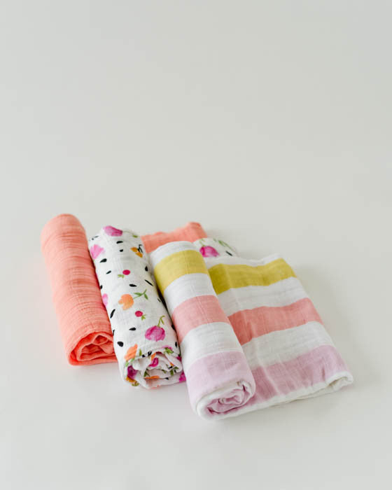 Cotton Muslin Swaddle Blanket Set - Cabana Stripe
