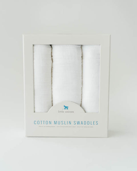 Cotton Muslin Swaddle Blanket Set  - White