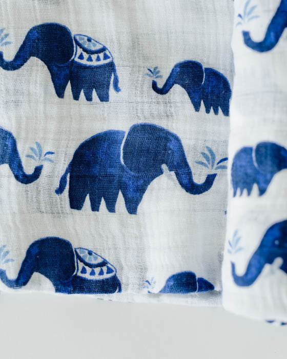Cotton Muslin Swaddle Blanket - Indie Elephant