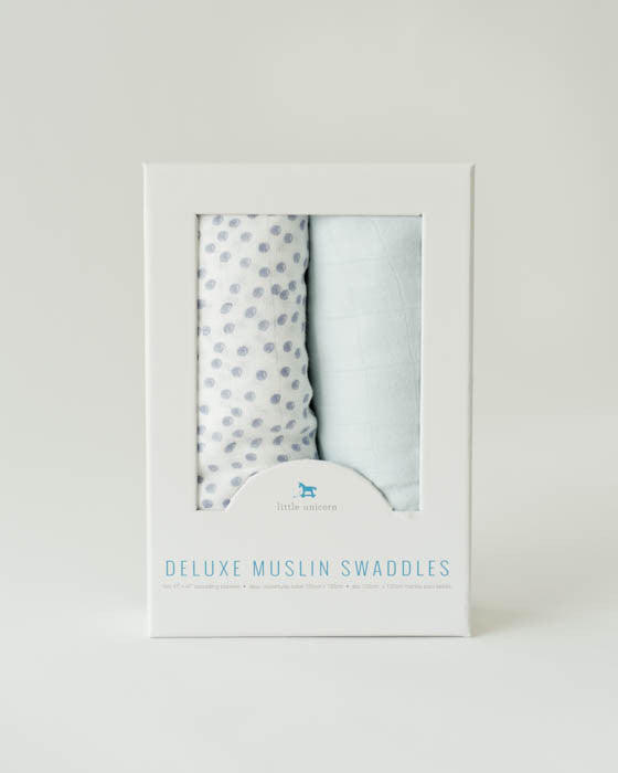Deluxe Swaddle Set - Periwinkle Polka Dot