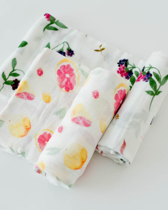 Deluxe Muslin Swaddle Blanket Set - Sweet Tart