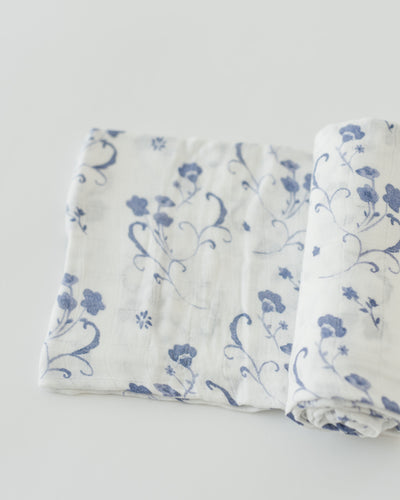 Deluxe Muslin Swaddle Single -  Blue Porcelain