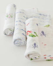 Cotton Muslin Swaddle Blanket Set - Mermaid