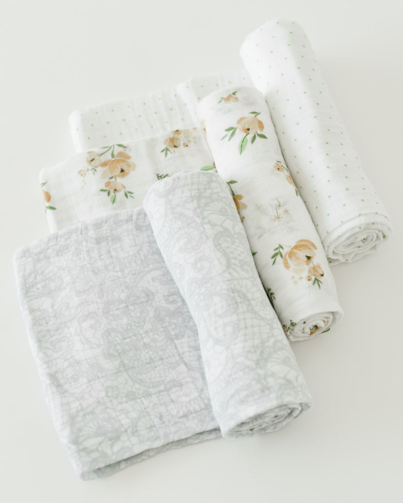 Little Unicorn 100% Cotton Muslin Swaddle Set - Yellow Rose