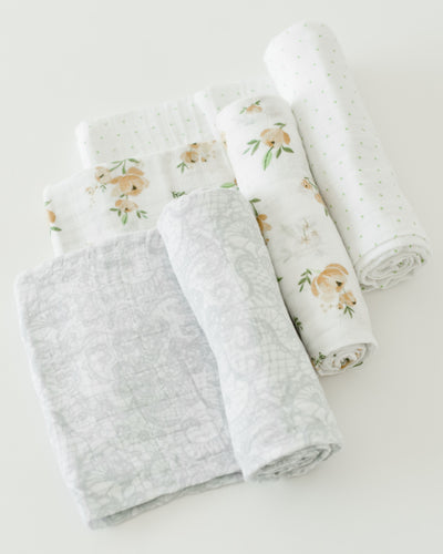 Cotton Muslin Swaddle Blanket Set - Yellow Rose
