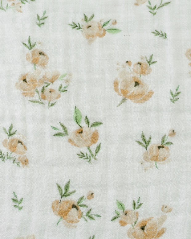 Cotton Muslin Swaddle Single - Yellow Rose