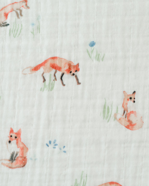 Cotton Muslin Swaddle Blanket - Fox