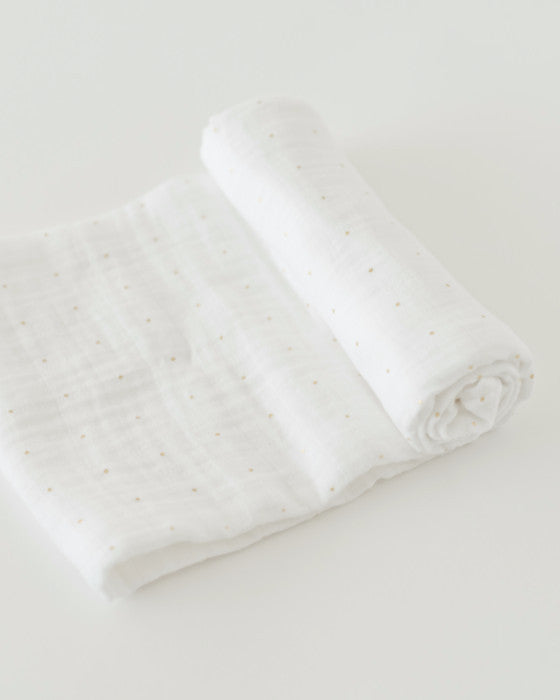 Cotton Muslin Swaddle Blanket - Gold Dot
