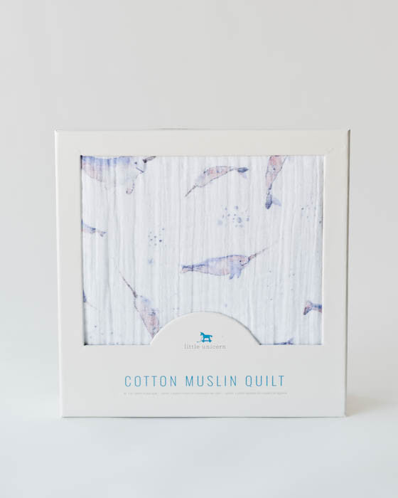 Cotton Muslin Baby Quilt - Narwhal