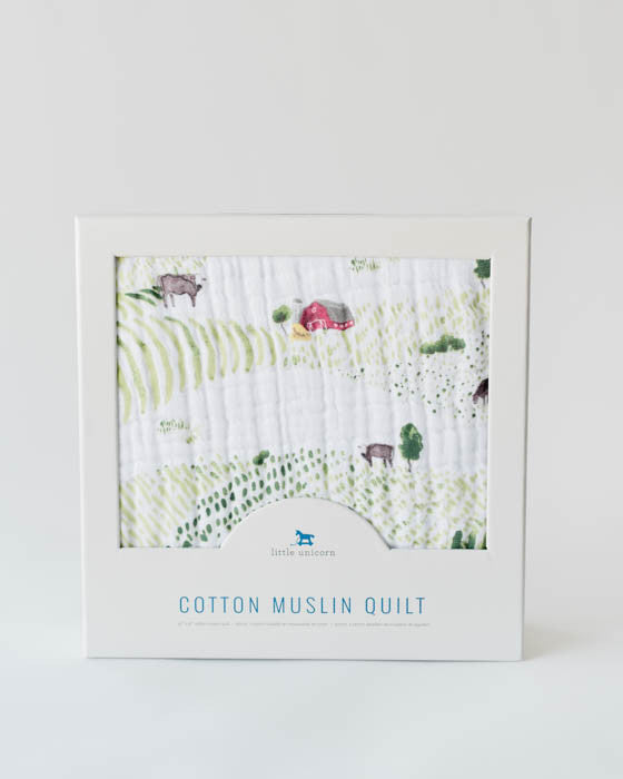 Cotton Muslin Baby Quilt - Rolling Hills