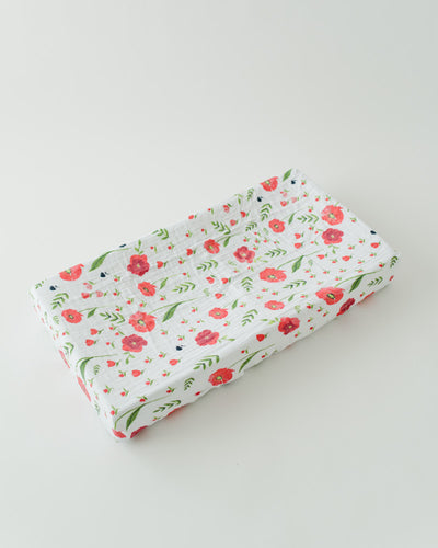 Cotton Muslin Changing Pad Cover - Summer Poppy