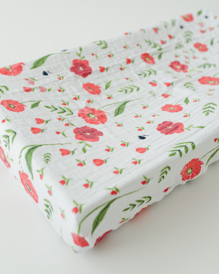 Cotton Changing Pad Cover - Summer Poppy