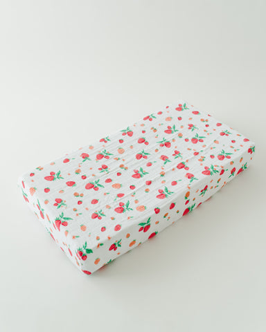 Cotton Changing Pad Cover - Strawberry