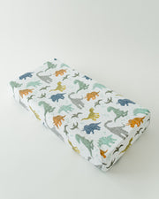 Cotton Muslin Changing Pad Cover - Dino Friends
