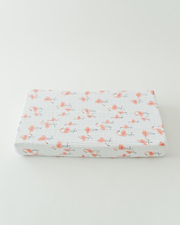 Cotton Muslin Changing Pad Cover - Pink Ladies