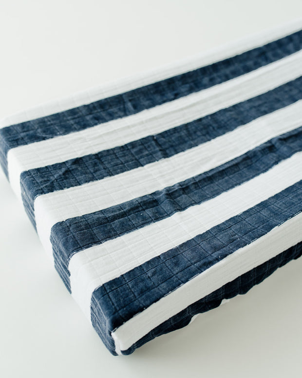 Cotton Muslin Changing Pad Cover - Navy Stripe