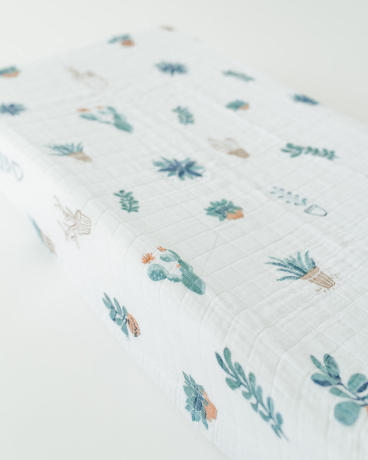 Cotton Muslin Changing Pad Cover - Prickle Pots
