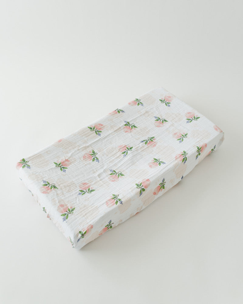 Cotton Changing Pad Cover - Watercolor Rose