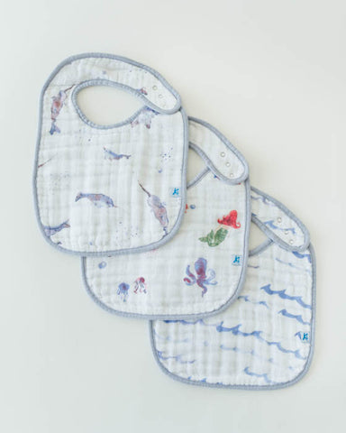 Cotton Muslin Classic Bib 3 pack - Ocean Friends