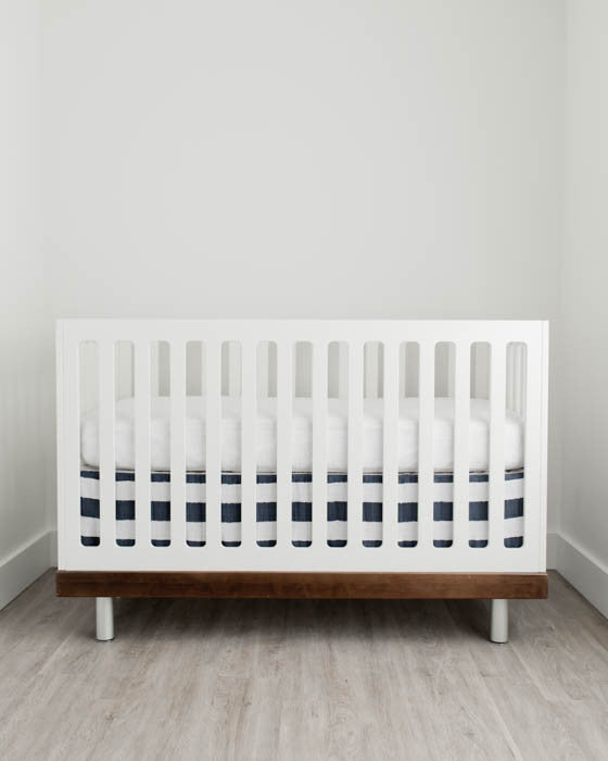 Cotton Muslin Crib Skirt - Navy Stripe