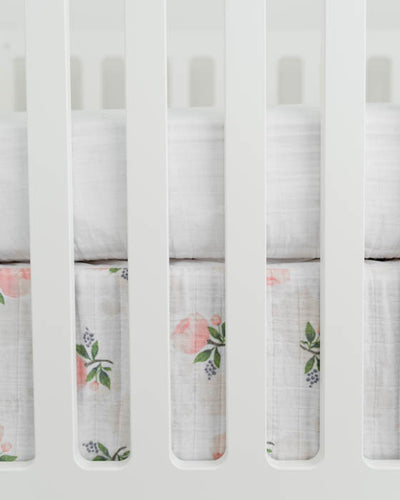 Cotton Muslin Crib Skirt - Watercolor Rose