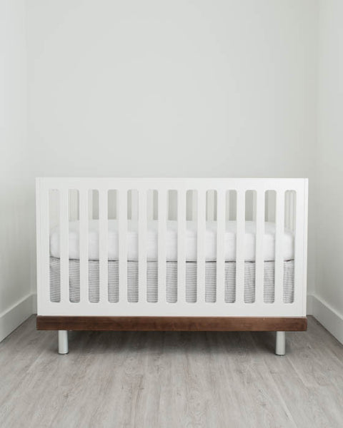 Cotton Muslin Crib Skirt - Grey Stripe