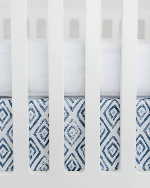 Percale Crib Skirt - Blue Topaz
