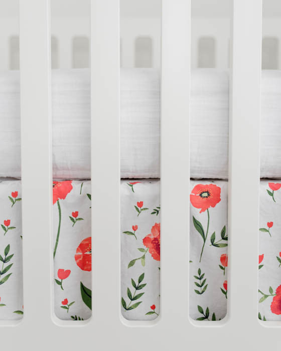Percale Crib Skirt - Summer Poppy