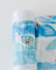 Cotton Muslin Swaddle Blanket - Surf