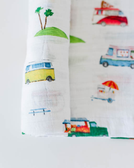 Cotton Muslin Swaddle Blanket - Food Truck