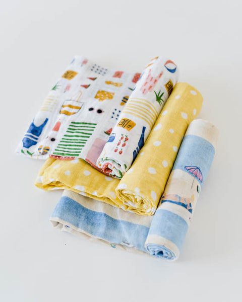 Cotton Muslin Swaddle Blanket Set - Beach