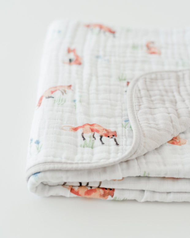 Cotton Muslin Baby Quilt - Fox