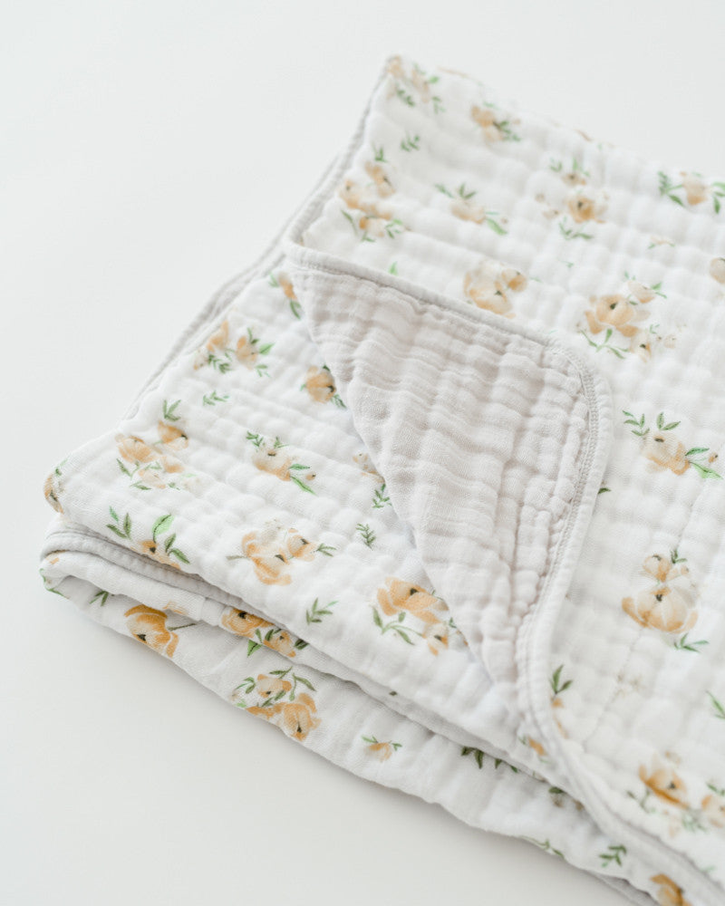 Cotton Muslin Quilt - Yellow Rose