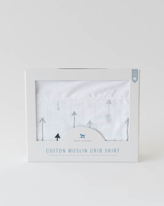Cotton Muslin Crib Skirt - Arrow