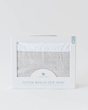 Cotton Muslin Crib Skirt - Warm Grey