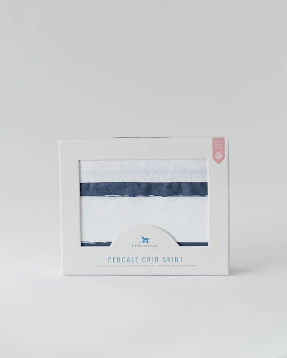 Percale Crib Skirt - Navy Stripe